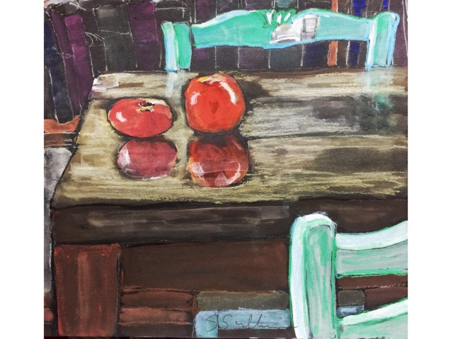 Sketch of a tomato and an apple on a table by Sarah Sullivan