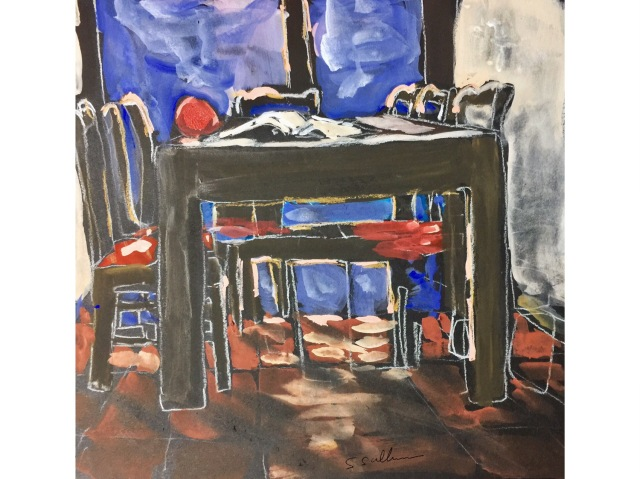 Sketch of a table in the afternoon light by Sarah Sullivan