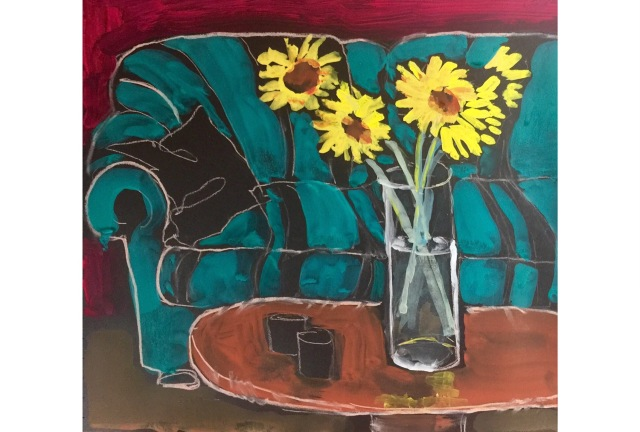 Sketch of Sunflowers in front of a Couch by Sarah Sullivan