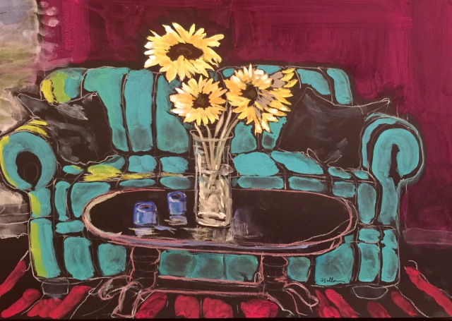 Sketch of some Sunflowers and a Couch by Sarah Sullivan