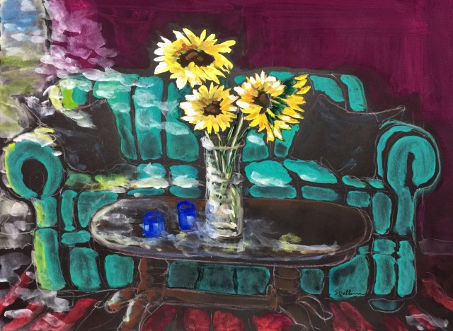 Sketch by Sarah Sullivan of light coming in a window onto a couch and sunflowers