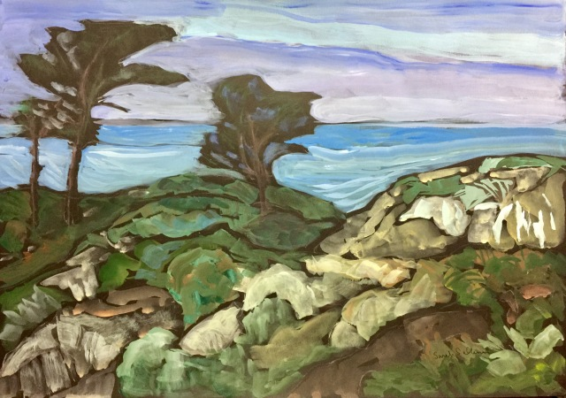 Sketch of Torrey Pines, Sea and Sky by Sarah Sullivan