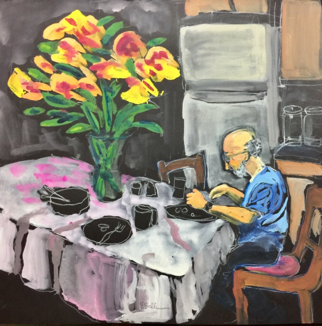 Sketch by Sarah Sullivan of a man eating Potatoes and a Bouquet for Dinner