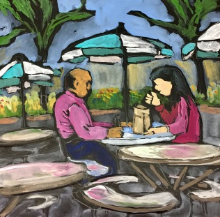 Sketch of two people taking their lunch break by Sarah Sullivan