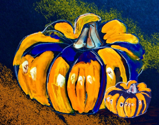 Gouache and Procreate Sketch of a pumpkin by Sarah Sullivan