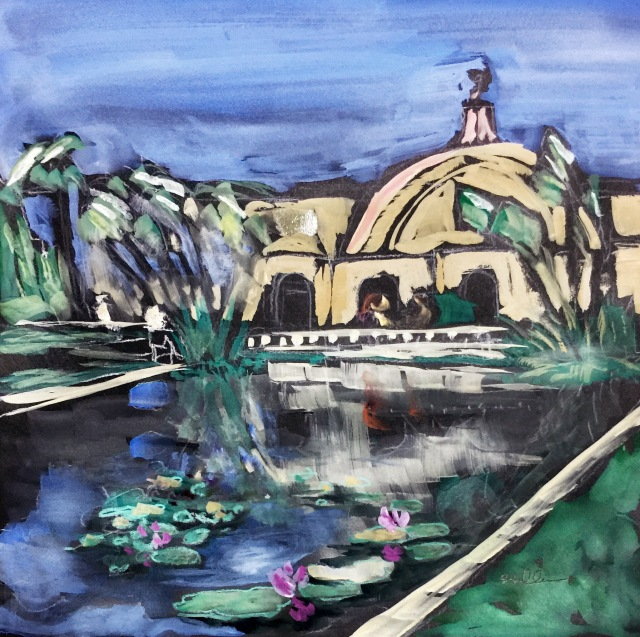 Gouache Sketch of the Lily Pond at Balboa Park by Sarah Sullivan