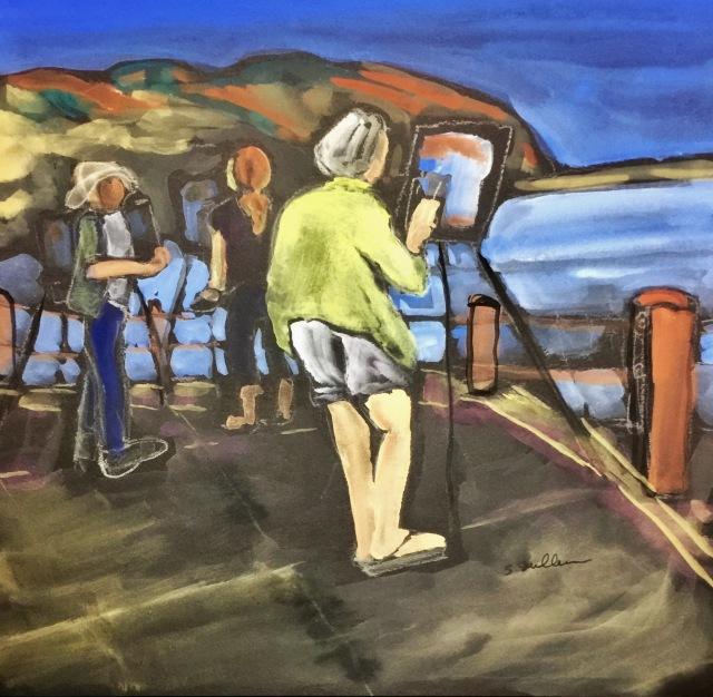Sketch by Sarah Sullivan of Painters at Los Peñasquitos Lagoon