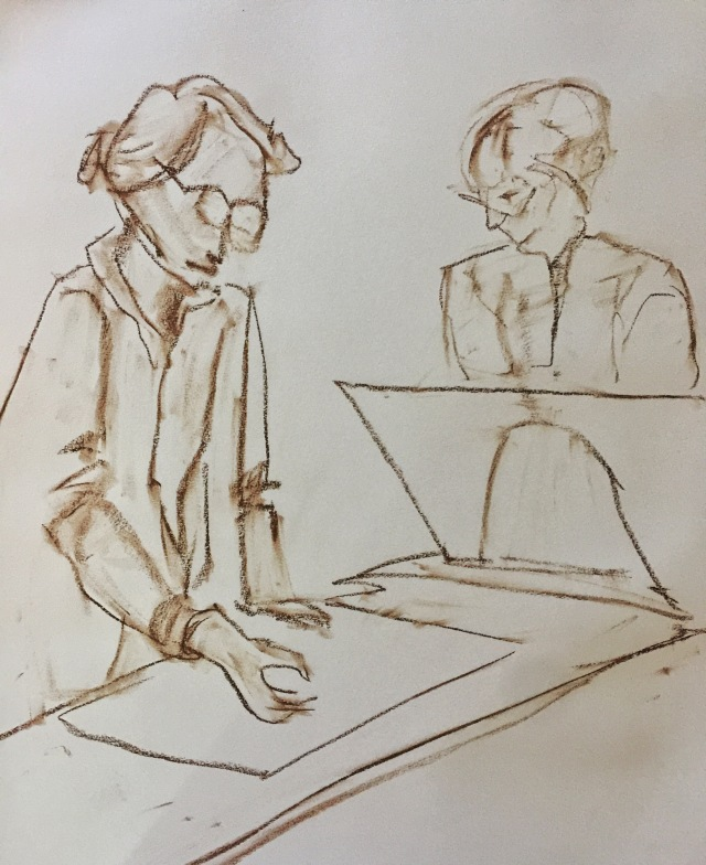 Sketch of two women by Sarah Sullivan