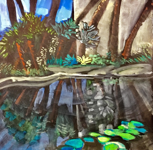 Sketch by Sarah Sullivan of a portion of the lily pond at Balboa Park in San Diego