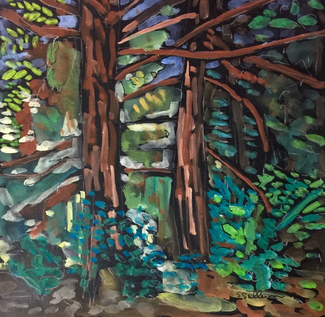 Gouache Sketch of TWo Trees by Sarah Sullivan