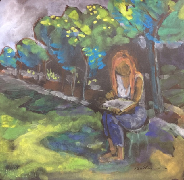 Sketch of a woman sketching in a park by Sarah Sullivan