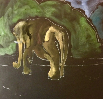 Sketch of an elephant by Sarah Sullivan