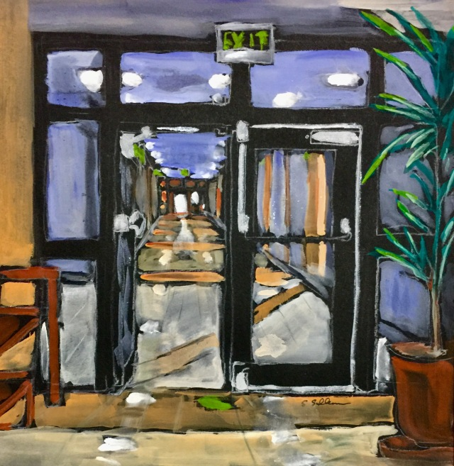 Gouache sketch of a hallway by Sarah Sullivan