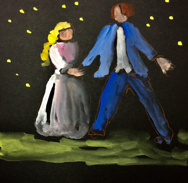 Sketch by Sarah Sullivan of Cast Rehearsing Pirates of Penzance at the SD Opera