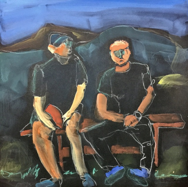 Sketch by Sarah Sullivan of two men talking together