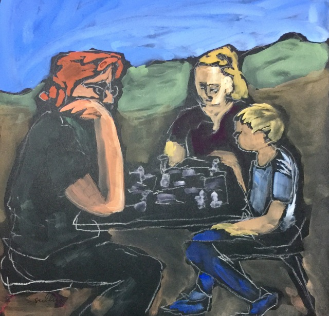 Sketch by Sarah Sullivan of Three People Playing A Serious Game of Chess