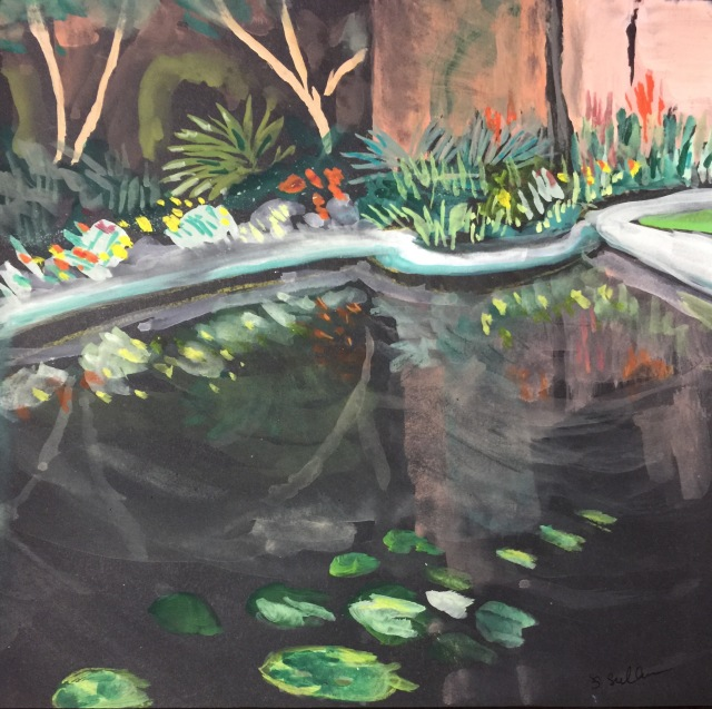 Sketch by Sarah Sullivan of a Lily Pond Corner at Balboa Park