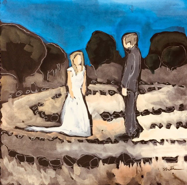 Sketch of two people walking a Marriage Labyrinth by Sarah Sullivan