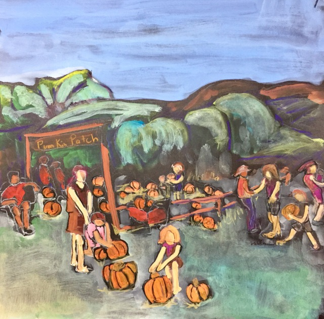 Sketch by Sarah Sullivan of the Pumpkin Patch at Summer Farms Past in El Cajon CA