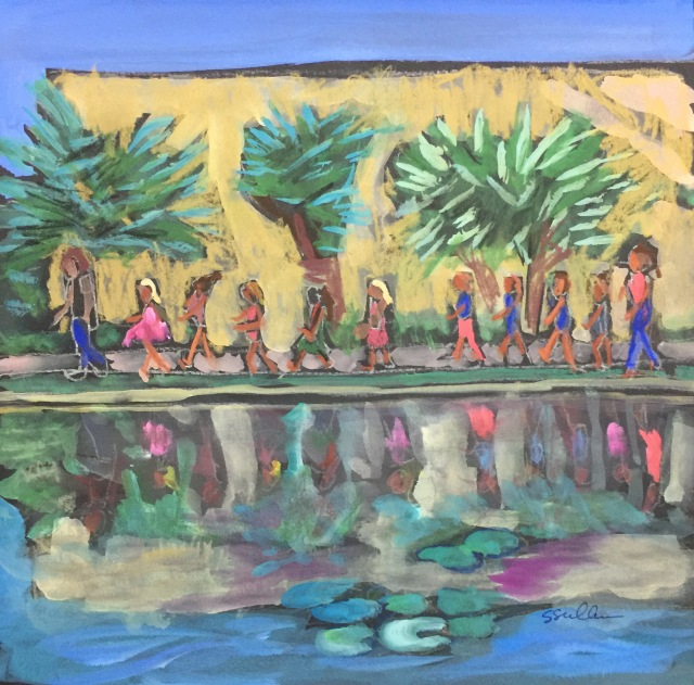 Sketch by Sarah Sullivan of a class of students along the lily pond at Balboa Park