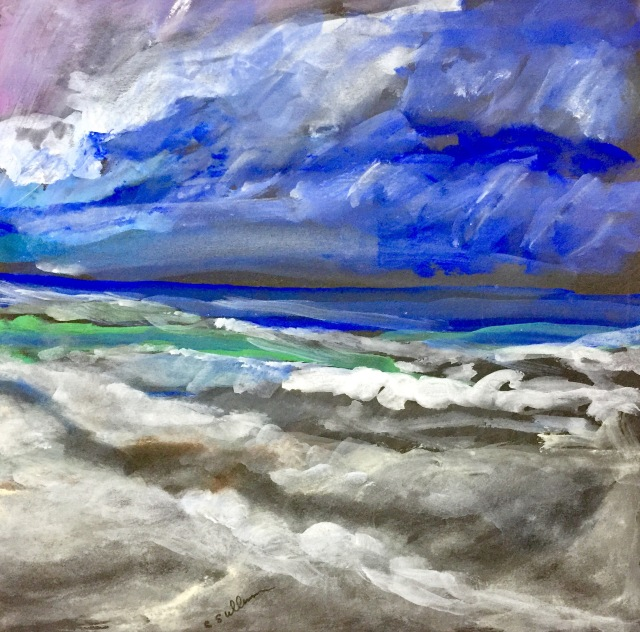 Sketch by Sarah Sullivan of a Stormy Morning at Pacific Beach