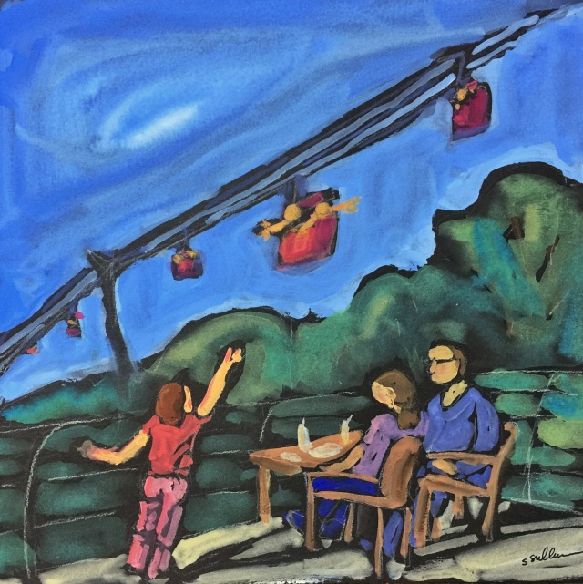 Sketch by Sarah Sullivan of a child waving at people riding the Skyfari at the San Diego Zoo