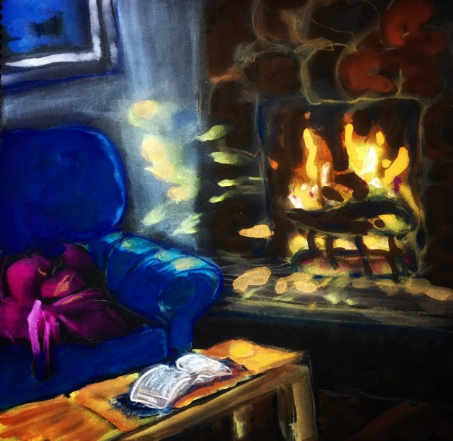 Sketch of a fireplace and couch by Sarah Sullivan