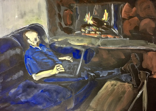 Sketch on a man working by his fireplace by Sarah Sullivan