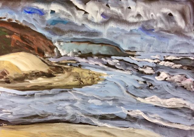 Sketch by Sarah Sullivan of Torrey Pines Beach