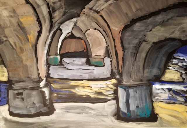 Sketch of Pilings Under a Bridge by Sarah Sullivan