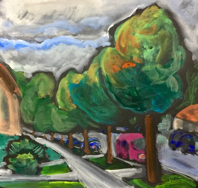 Sketch by Sarah Sullivan of trees on a street