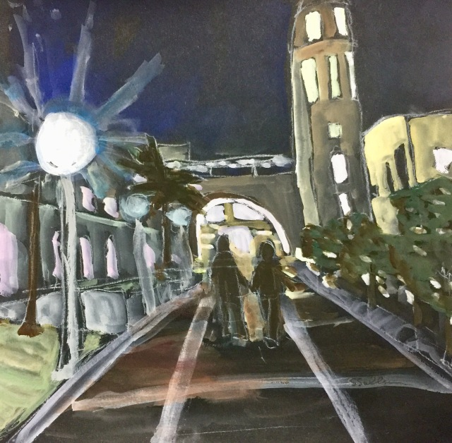 Sketch by Sarah Sullivan of the SDSU student union area