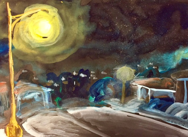 Sketch of a Streetlight on a Moonless Night by Sarah Sullivan
