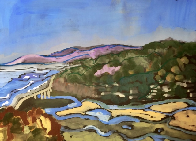 Sketch of Peñasquitos Lagoon and Valley by Sarah Sullivan