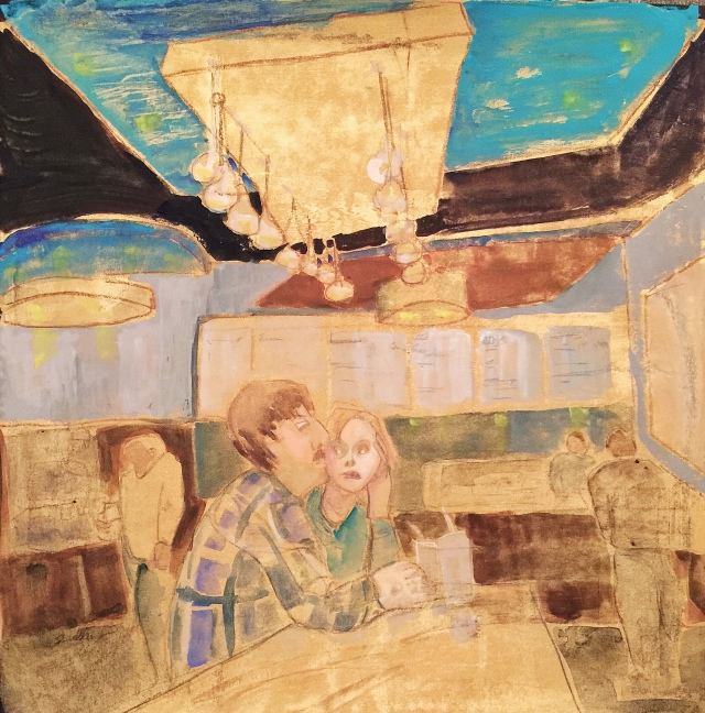 Sketch by Sarah Sullivan of two people in a taco shop