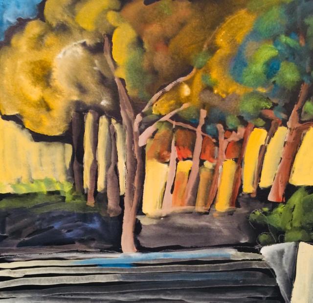 Sketch of Trees on a Plaza by Sarah Sullivan