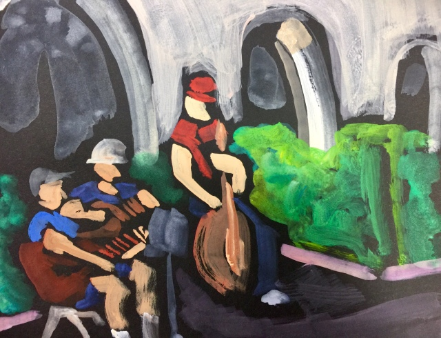 Sketch by Sarah Sullivan of Musicians at Balboa Park