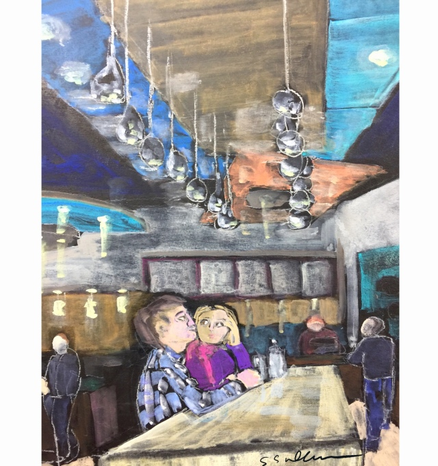 Second Sketch of a couple in a taco shop by Sarah Sullivan