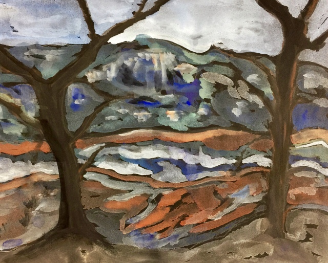 Sketch by Sarah Sullivan of a landscape between two trees