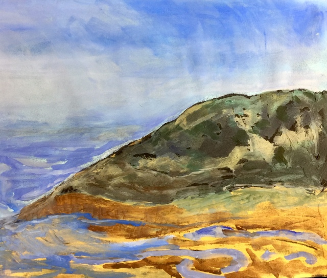 Sketch by Sarah Sullivan of A High Tide at Torrey Pines