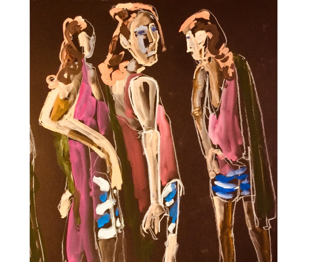 Sketch by Sarah Sullivan of a Figure from Three Different Angles