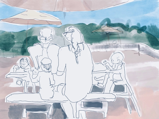 Sketch of a family eating at the zoo by Sarah Sullivan