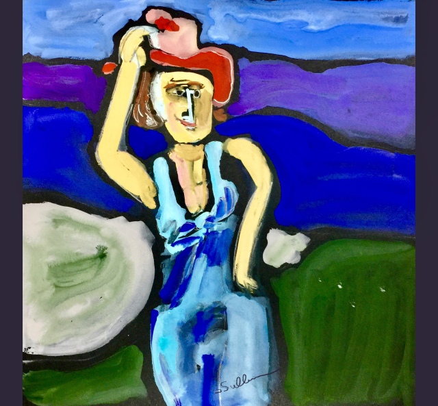 Abstract Sketch by Sarah Sullivan of a Woman holding onto her Hat