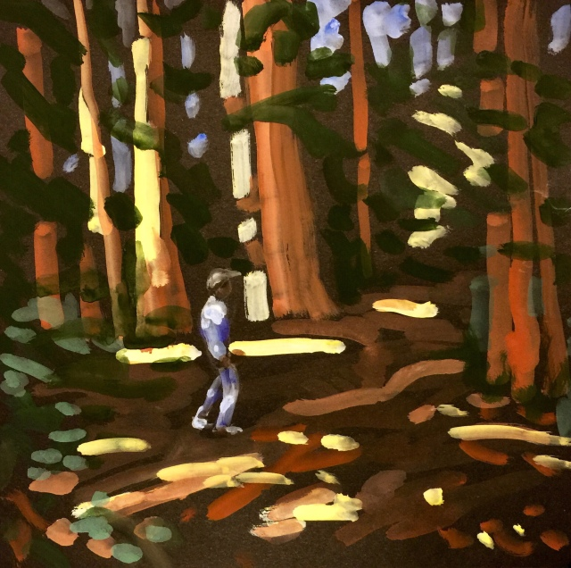 Sketch by Sarah Sullivan of a main in the Redwood Forest
