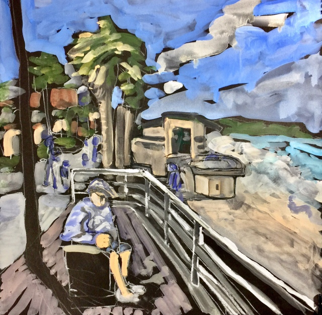 Sketch by Sarah Sullivan of the Morning Sun at Pacific Beach