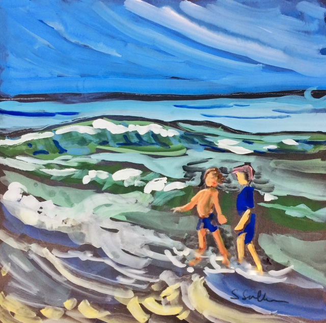Sketch by Sarah Sullivan of two children wading at Torrey Pines State Park