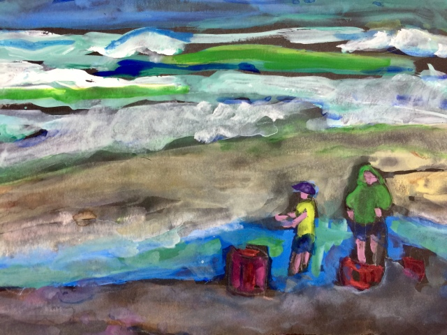 Sketch of two small boys at Torrey Pines Beach by Sarah Sullivan