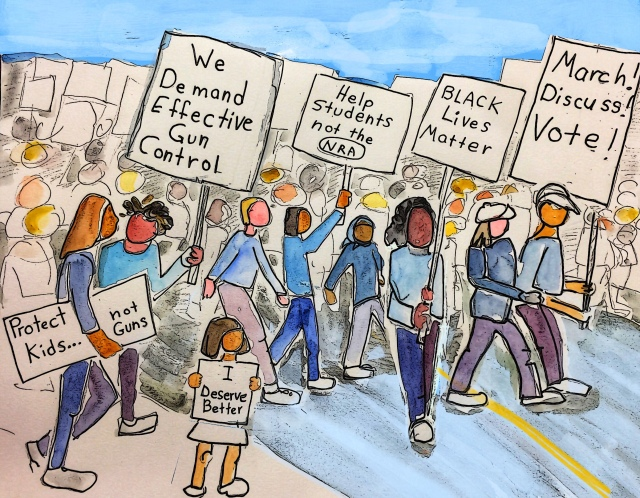 Sketch by Sarah Sullivan of the March for Our Lives
