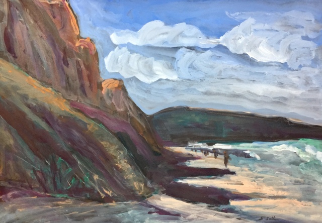 Painting of Sunlight on the Cliffs at Torrey Pines by Sarah Sullivan