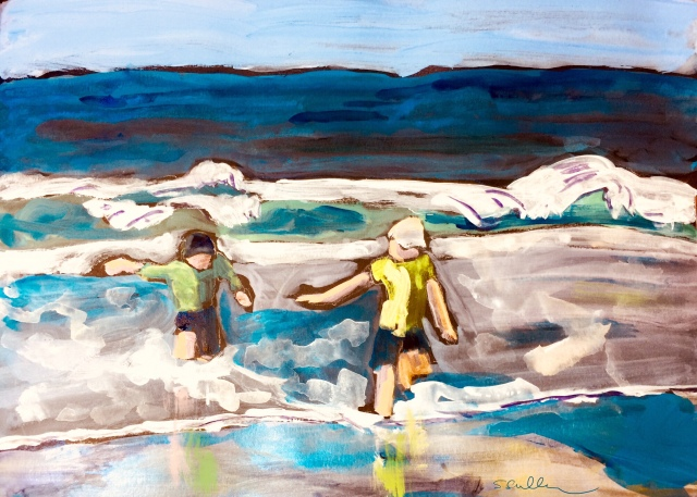 Sketch by Sarah Sullivan of Children Playing in the Waves